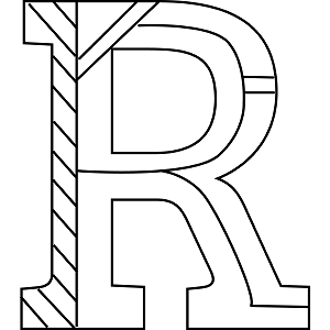 Uppercase r coloring page for R coloring page