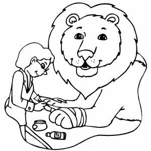 Free Printable Coloring Sheets On Lion At Veterinarian Page
