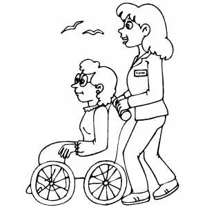 nursing coloring pages to print - nurse and patient coloring page