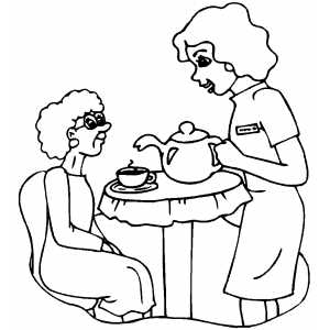 honey pie pony coloring pages - nurse making tea for old woman coloring page