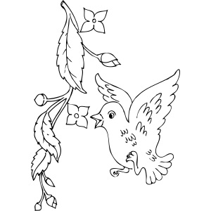 Bird And Flower Buds Coloring Page