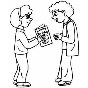 Giving Birthday Card coloring page