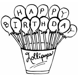 Free Printable Christmas Coloring Pages on Happy Birthday Lollipops Coloring Page