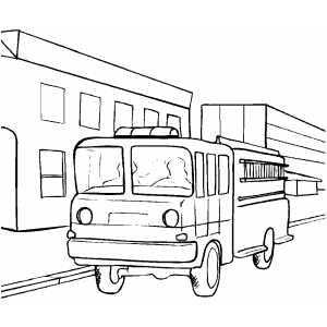 free coloring pages cars and trucks | Fire Truck Parked Coloring Page