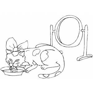 cat drink milk colouring pages