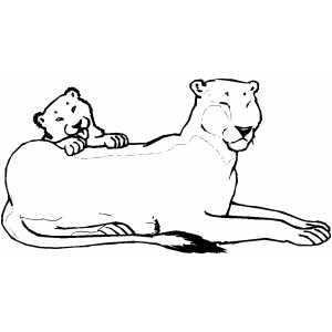 Lioness and club coloring page for Lioness coloring pages