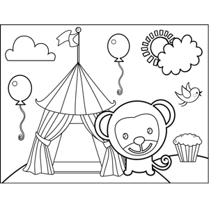 monkey and circus tent coloring page