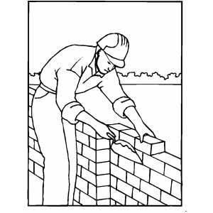 worker building wall coloring page