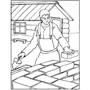 Worker building wall for house coloring page for Building construction coloring pages