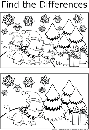 ... winter cats coloring page kids will enjoy finding the differences