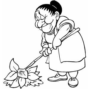 Old Woman Gardening coloring page