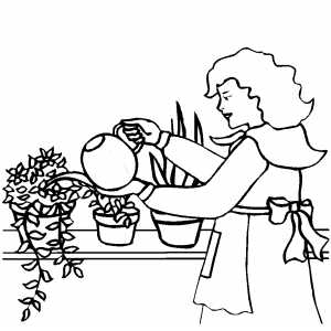 watering flowers coloring pages - photo#32