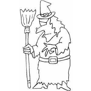 Witch In Hat Coloring Page