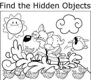 printable hidden objects coloring pages sketch template
