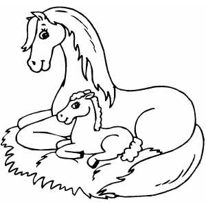 Horse Sitting With Foal Coloring Page