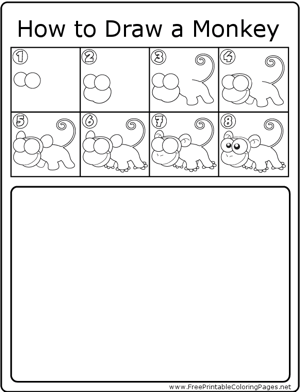 How to Draw Monkey Coloring Page