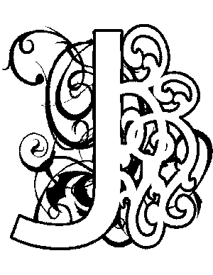 illuminated alphabet coloring pages - illuminated j coloring page