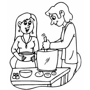Cooking dinner from potatos coloring page for Cooking coloring page