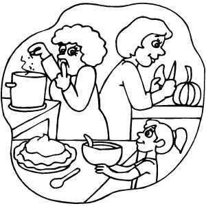 Cooking Pumpkin Pie Coloring Page