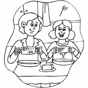 preschool coloring pages of a family eating dinner coloring pages Eating Dinner Coloring Page  Coloring Pages Of A Family Eating