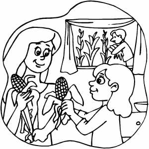 Family peeling Corn coloring page