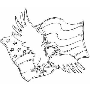 independence day coloring pages to print - eagle and flag coloring page
