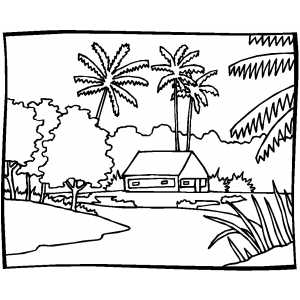 hut on river coloring page