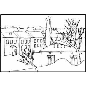 town in winter coloring page. Black Bedroom Furniture Sets. Home Design Ideas
