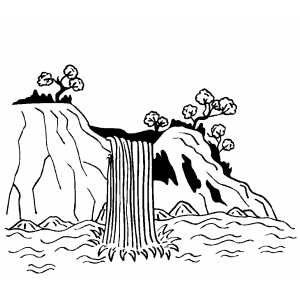 Waterfall coloring page for Free printable waterfall coloring pages