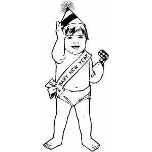 baby new year coloring pages free | New Year Baby Coloring Page