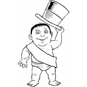 baby new year coloring pages free | New Years Baby Welcomes You Coloring Page
