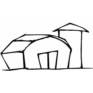 barn and silo coloring page