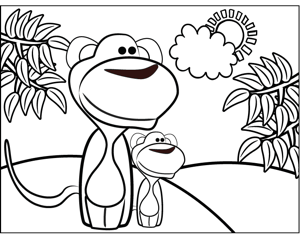 beach animals coloring pages - monkeys on beach coloring page