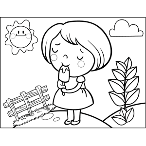 girl with popsicle coloring page