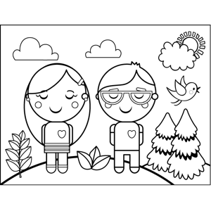 Teenagers In Love Coloring Page