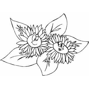 Flirting Flowers coloring page