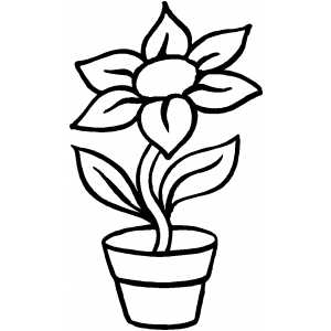 Flower Pot Coloring Page Sketch Templates