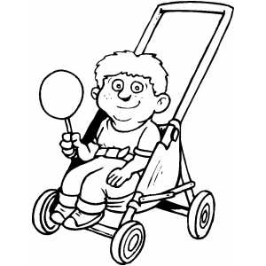 Boy In Stroller With Candy Coloring