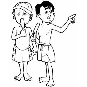 boys with popsicles coloring page