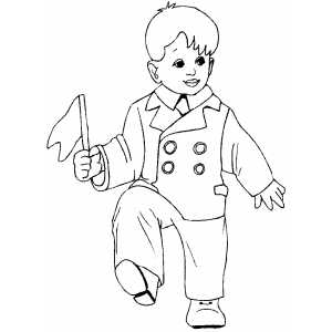 boys and girls dancing coloring pages | Dancing Boy With Flag Coloring Page