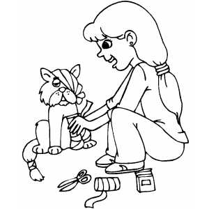 Girl And Wounded Kitten coloring page
