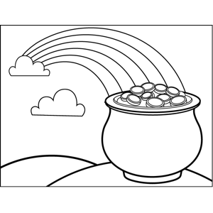 Rainbow and pot of gold coloring page for Rainbow pot of gold coloring pages