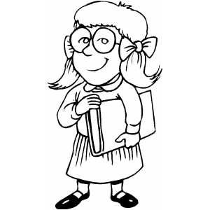 Bookworm Girl Coloring Page