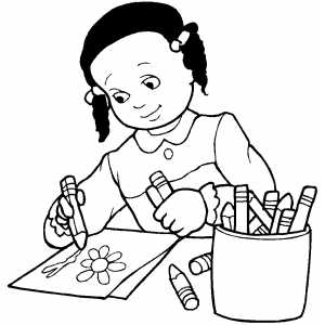 Girl Drawing Flower Coloring Page Drawing Coloring Pages