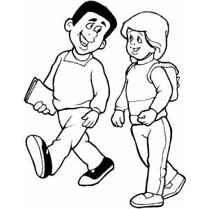 Students walk coloring page for Coloring pages for college students