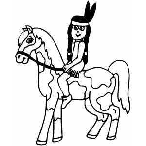 Native American On Horse coloring page