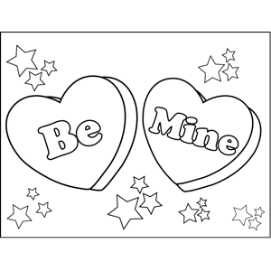 Be Mine Candy Hearts Coloring Page