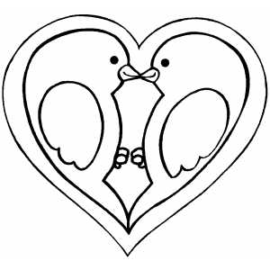 Valentines  Heart Coloring Pages on Heart With Birds Coloring Page