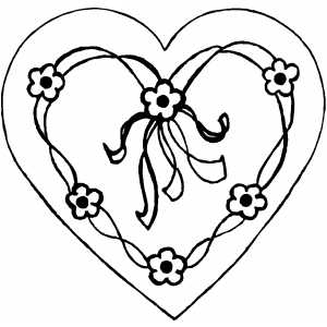 Valentines  Heart Coloring Pages on Heart With Flowers Coloring Page