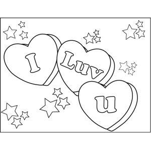 I Luv U Candy Hearts Coloring Page